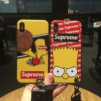 SUPREME iphoneX plusケース 個性 iPhone8plusカバー 浮き彫り ストラップ