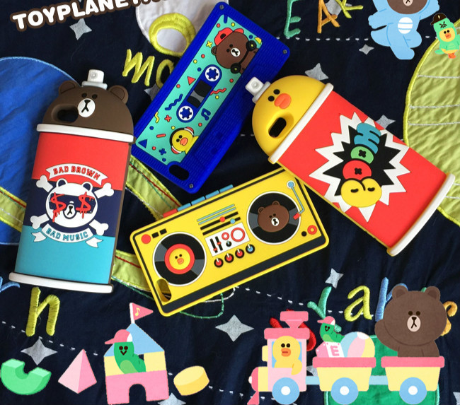 iphone8/7/6splus ケース 人気韓国ライン熊クマ雛ひよこレコーダー録音機テープスプレー型8 plus磁気テープ外観アイフォン7plus/8/6sブラウン携帯カバー保護ジャケットlineかわいい噴霧デザイン