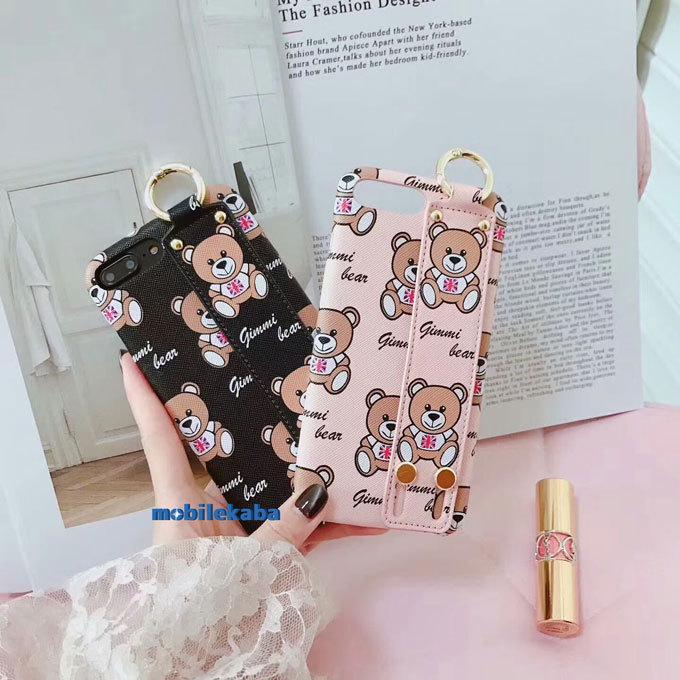 クマ キャラクター モスキーノ moschino ブランド iPhoneX iPhone8 iPhone7 ケース 人気 ベルト 便利 革 レザー カバー