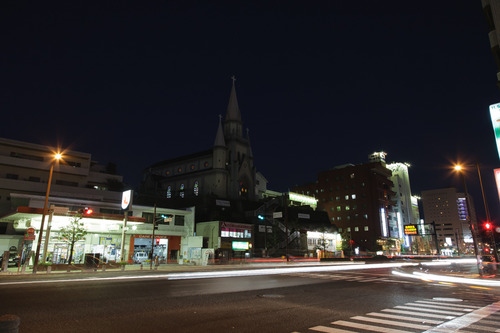 佐世保 三浦教会 夜景 闇