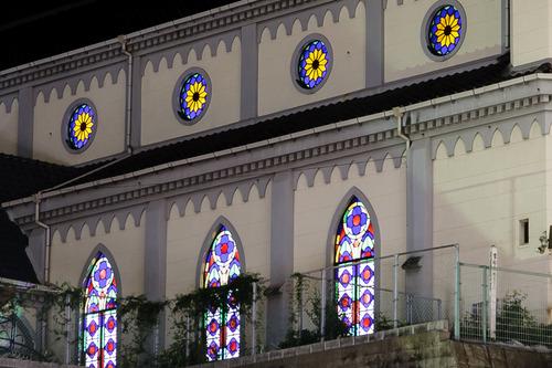 佐世保 三浦教会 夜景 ステンドグラス